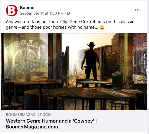 Western article posted on Boomer Facebook page