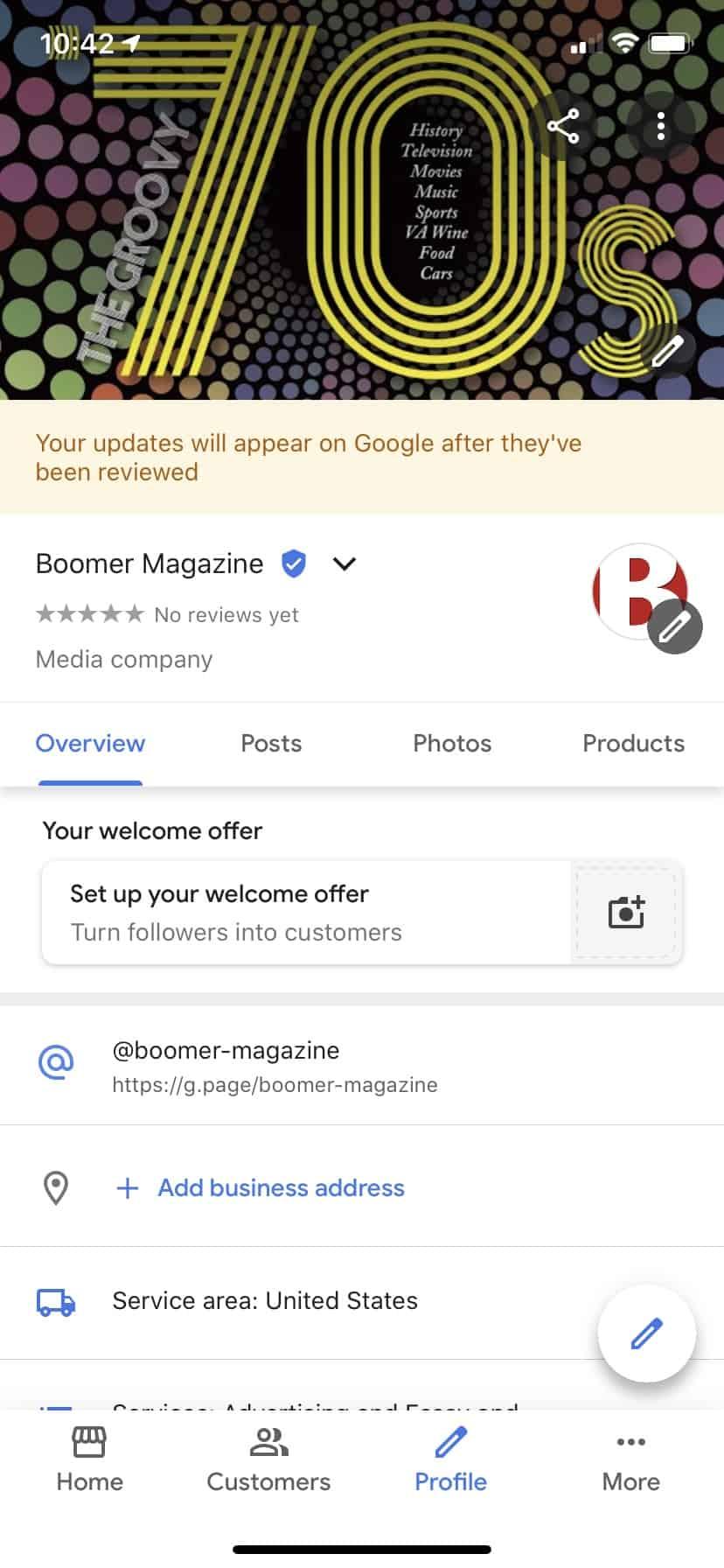 My Business app for Boomer Magazine screenshot