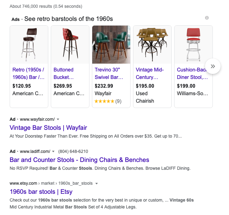 Demonstrating how to choose keywords for SEO, Google search for keywords retro barstools of the 1960s