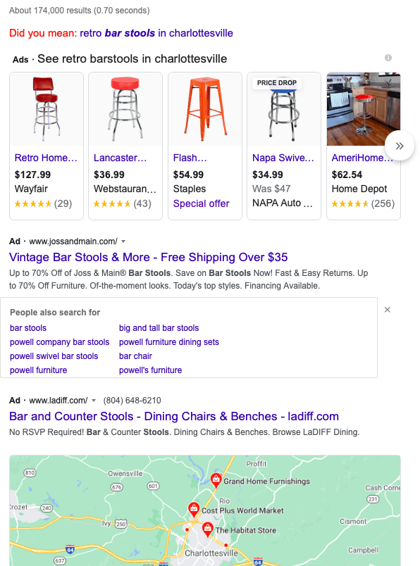 Google search for keywords retro barstools in Charlottesville