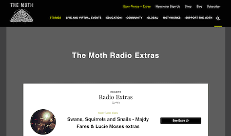 Screenshot of TheMoth.org podcast extras