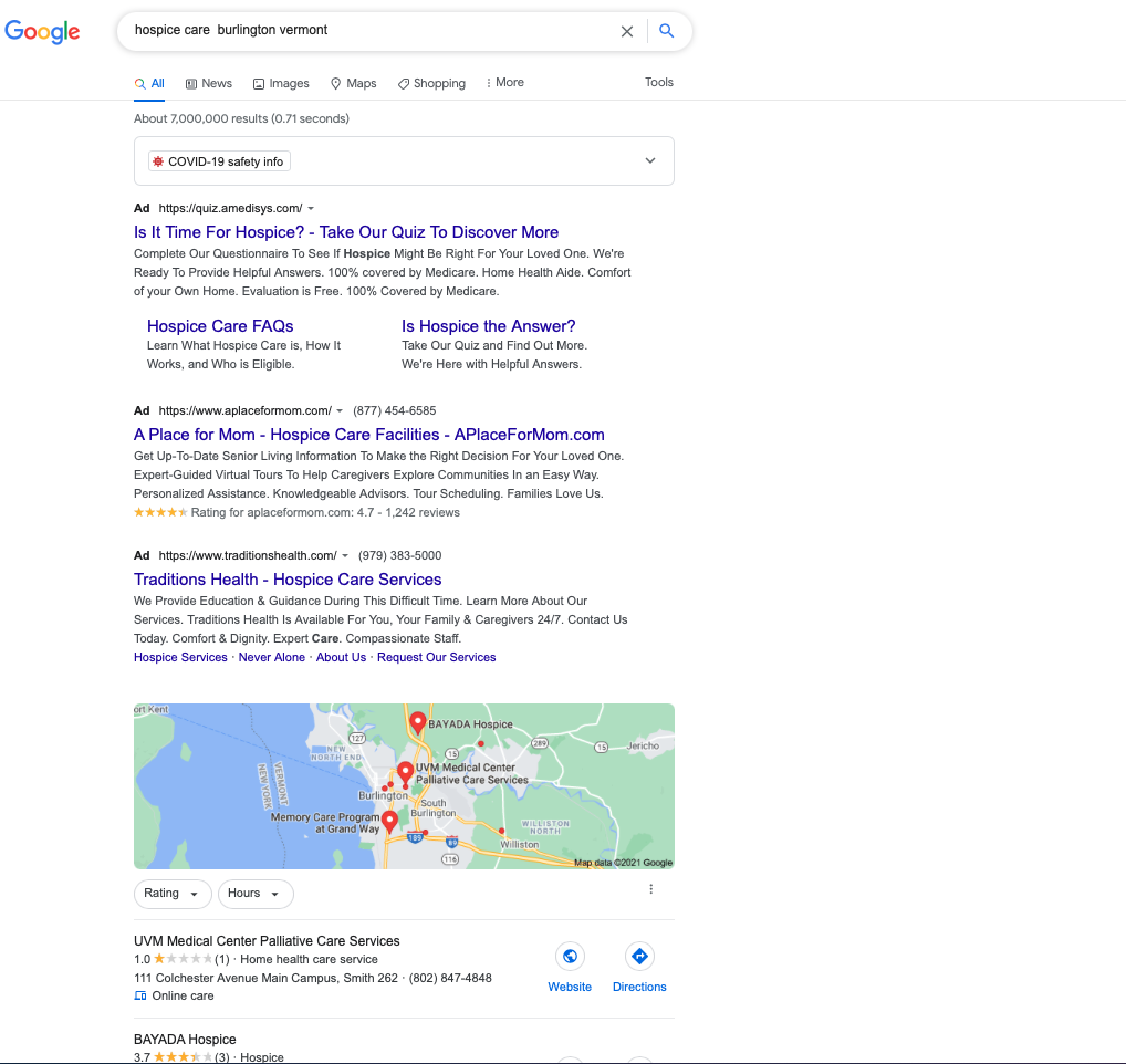 Google My Screenshot of Google search page: Business for Senior Industry Businesses